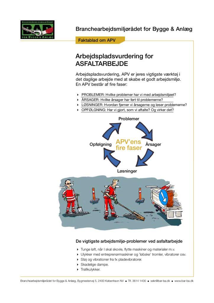Faktablad om APV - Asfaltarbejde