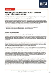 thumbnail of Faktaark om kemisk risikovurdering og instruktion – støv på byggepladsen